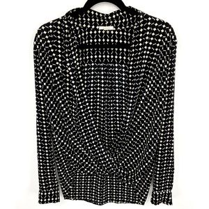 Pleione Black and White Print Wrap Front Top
